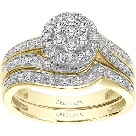 Two Tone Bridal Sets (Forevermore 1/3 Carat T.W. Certified Diamond 10kt Two-Tone Gold Bridal Set)
