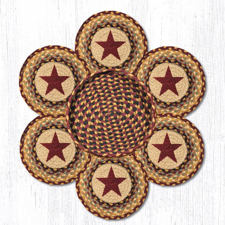Earth Rugs 56-357BS Burgundy Star Trivets in a Basket