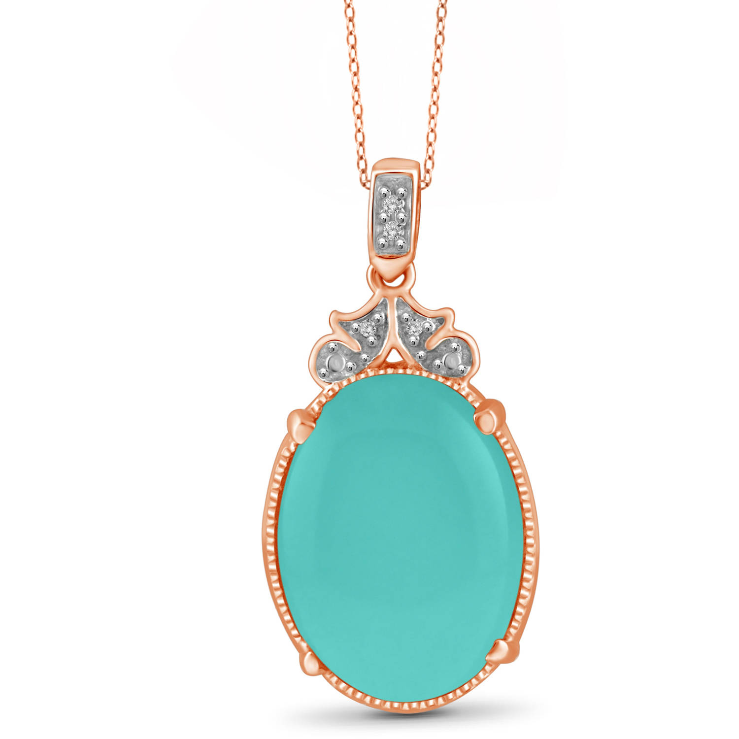 "JewelersClub 10-3 4 Carat T.G.W. Chalcedony and White Diamond Accent Rose Gold over Silver Fashion Pendant, 18"" by JewelersClub"