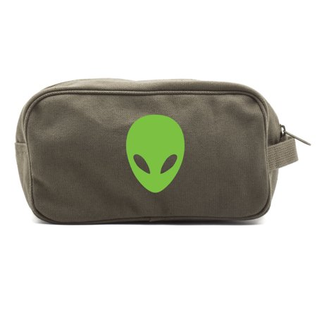 Sci-Fi Alien Head Canvas Dual Two Compartment Travel Toiletry Dopp Kit Bag