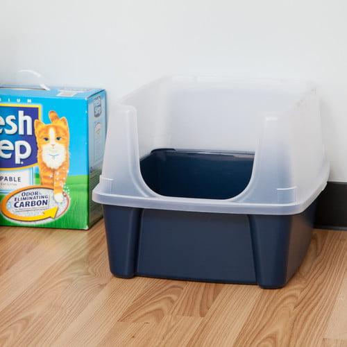 Iris Cat Litter Box With Shield, Blue