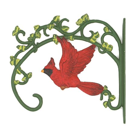 Red Cardinal and Green Ivy Leaf Design Plant Holder Hook Wall Mount Cast Iron ()