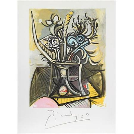 Pablo Picasso 2369 Vase de Fleurs, Lithograph on Paper 29 In. x 22 In. - Yellow, Blue, Black