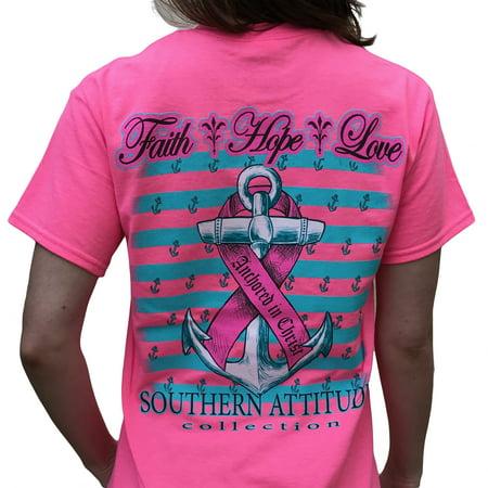 Southern Attitude Hope Breast Cancer Awareness Pink Short Sleeve Shirt (Medium) - Breast Cancer Awareness Symbol