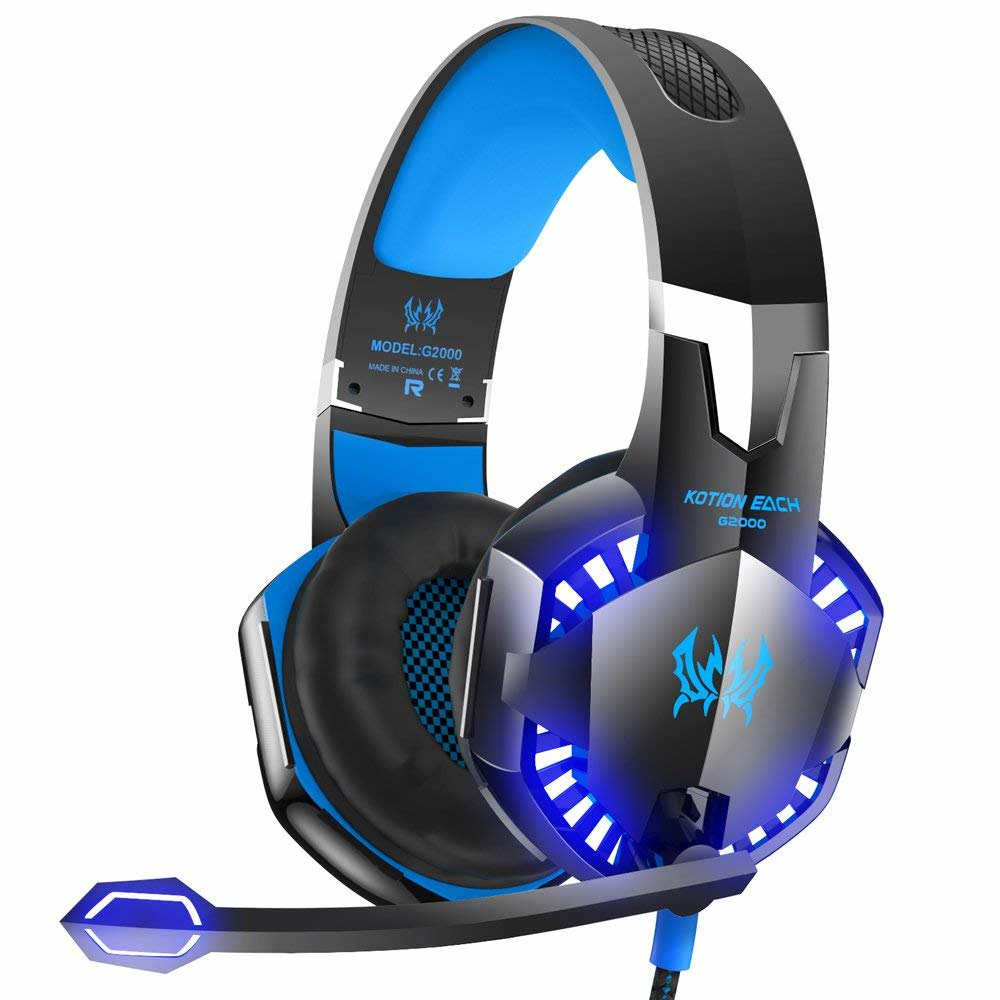 VersionTECH. G2000 Stereo Gaming Headset for Xbox One PS4 PC, Surround Sound Over-Ear Headphones with Noise Cancelling Mic, LED Lights