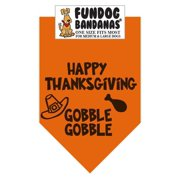 Fun Dog Bandana - Happy Thanksgiving - One Size Fits Most for Med to Lg Dogs, burnt orange pet scarf