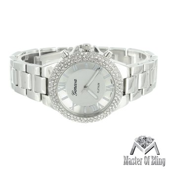 Womens Geneva Platinum Watch Slim Design Analog Steel Back Lab Created Cubic Zirconia Bezel