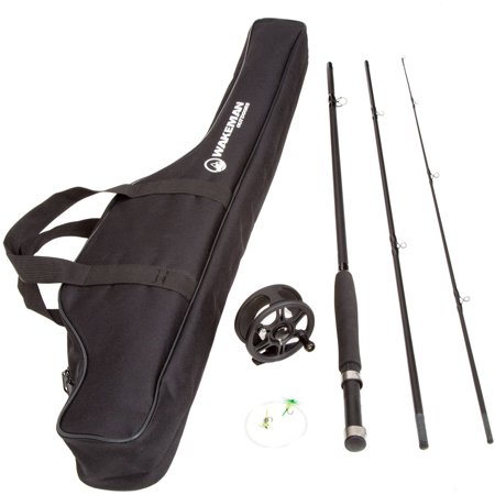 Wakeman Charter Series Fly Fishing Combo with Carry Bag, Black ()