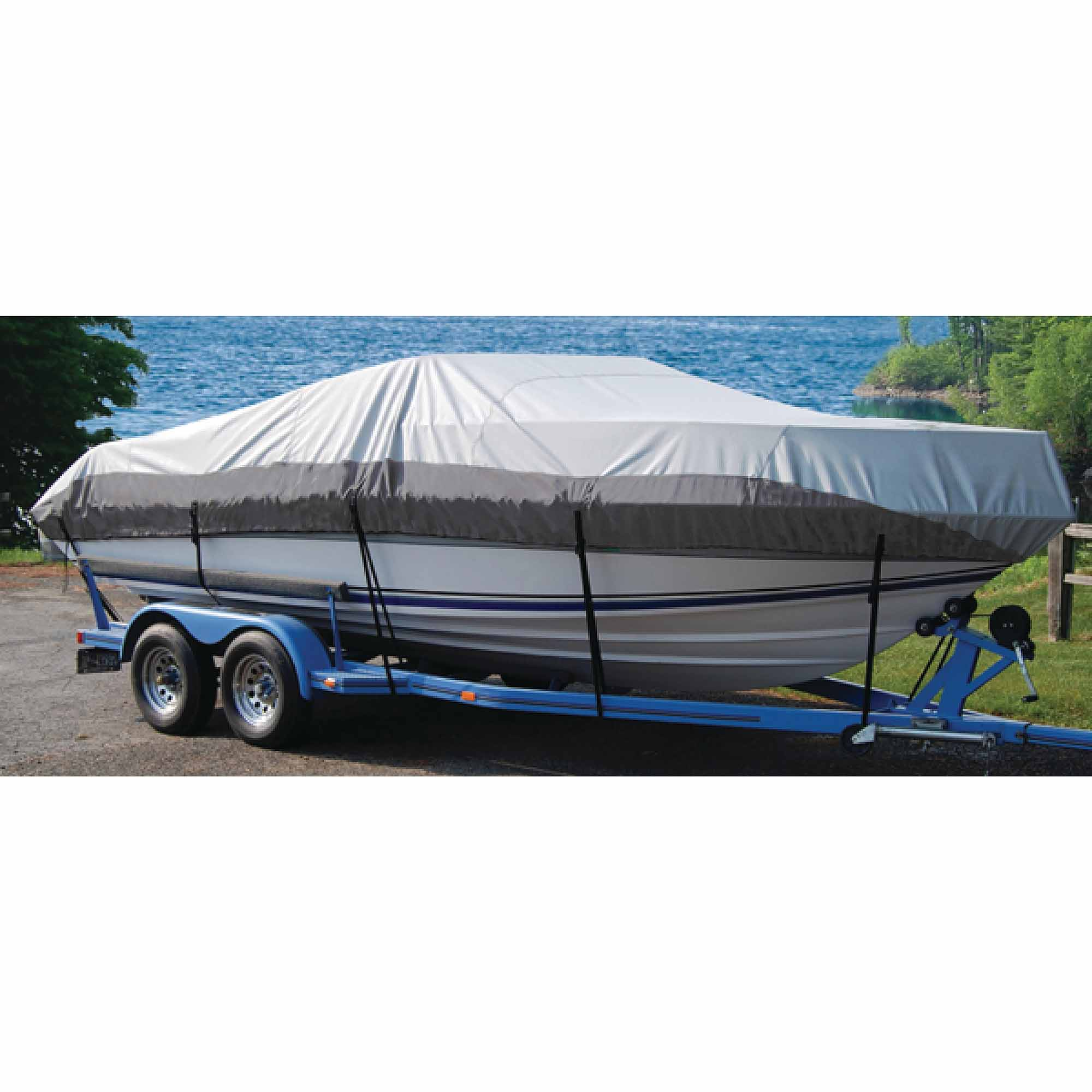 """Taylor Heavy Duty Polyester 2-Tone Color Fabric BoatGuard Eclipse Boat Cover with Storage Bag, Tie-Down Straps and Support Pole, Fits 21' to 23' V-Hull Runabout Bow Rider, Up to 102"""" Beam"""