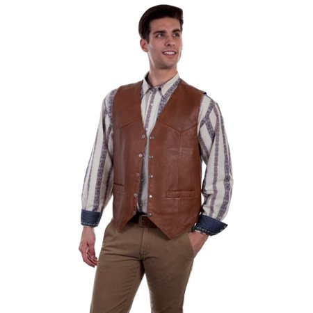 Scully Western Vest Mens Five Snap Leather Single Point Yoke 507