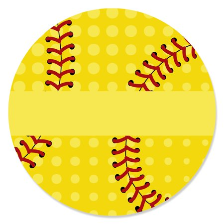 Softball Party Supplies (Grand Slam - Fastpitch Softball - Birthday Party or Baby Shower Circle Sticker Labels - 24)