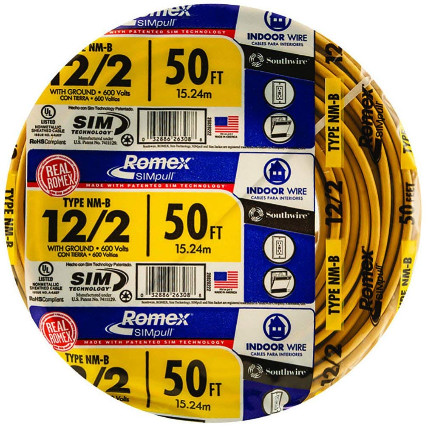 ROMEX HOUSE WIRE 500/' 12-2 12//2 WITH GROUND W//GR NM-B