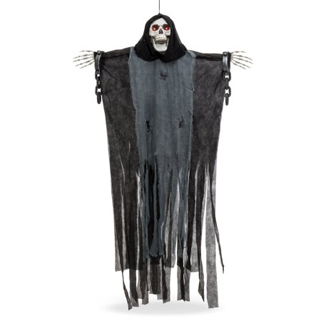 Best Choice Products 5ft Hanging Spooky Skeleton Grim Reaper Halloween Decoration Prop for Indoor, Outdoor w/ LED Glowing Eyes, Shackles, Chains](Best Place To Buy Halloween Decorations)