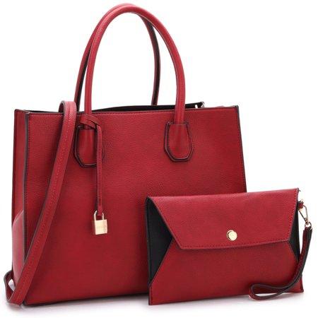 Dasein Medium Hanging Padlock Deco Satchel Handbag With Matching Wristlet