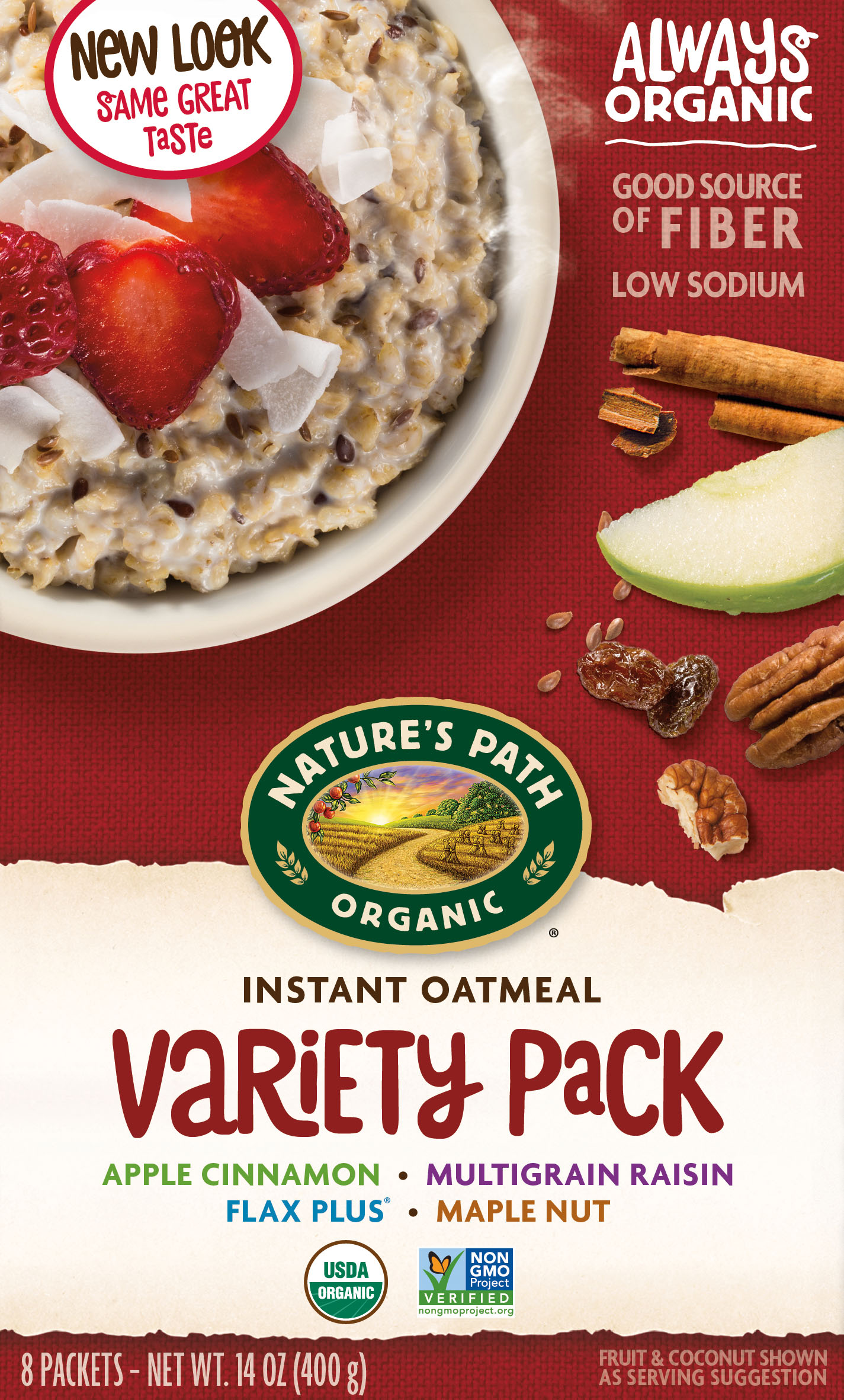 Nature's Path Organic Hot Oatmeal, Variety Pack, 1.75 Oz, 8 Ct