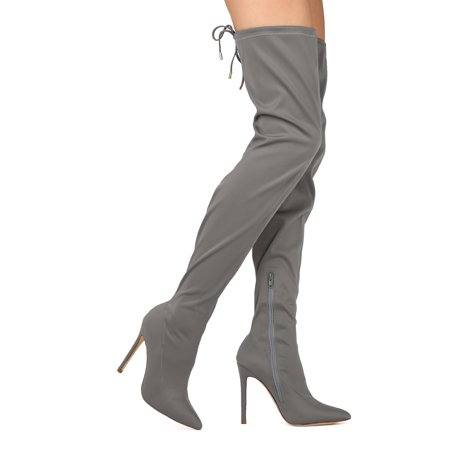 e7afdc72de1 Women Thigh High Pointy Toe Stretchy Drawstring Stiletto Boot HE43
