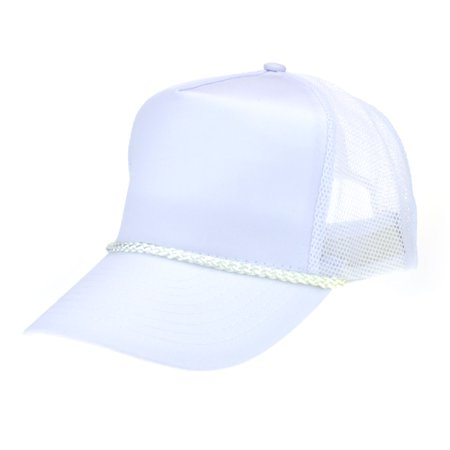 Classic Mens 5 Panel Twill Mesh Black Trucker Hat White (5 Panel Skateboard Hats)