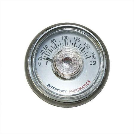 "Interstate Pneumatics G2100-160 Pressure Gauge 160 PSI 1.25"" Diameter 1/8"" NPT Rear Mount"