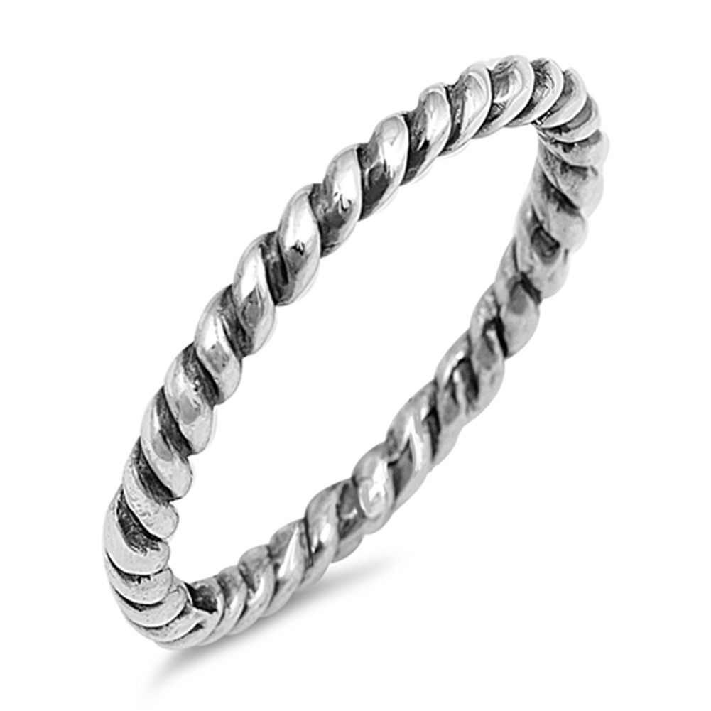 Oxidized Rope Wedding Stackable Ring ( Sizes 2 3 4 5 6 7 8 9 10 11 12 ) .925 Sterling Silver Toe Band Rings by Sac Silver (Size 4)