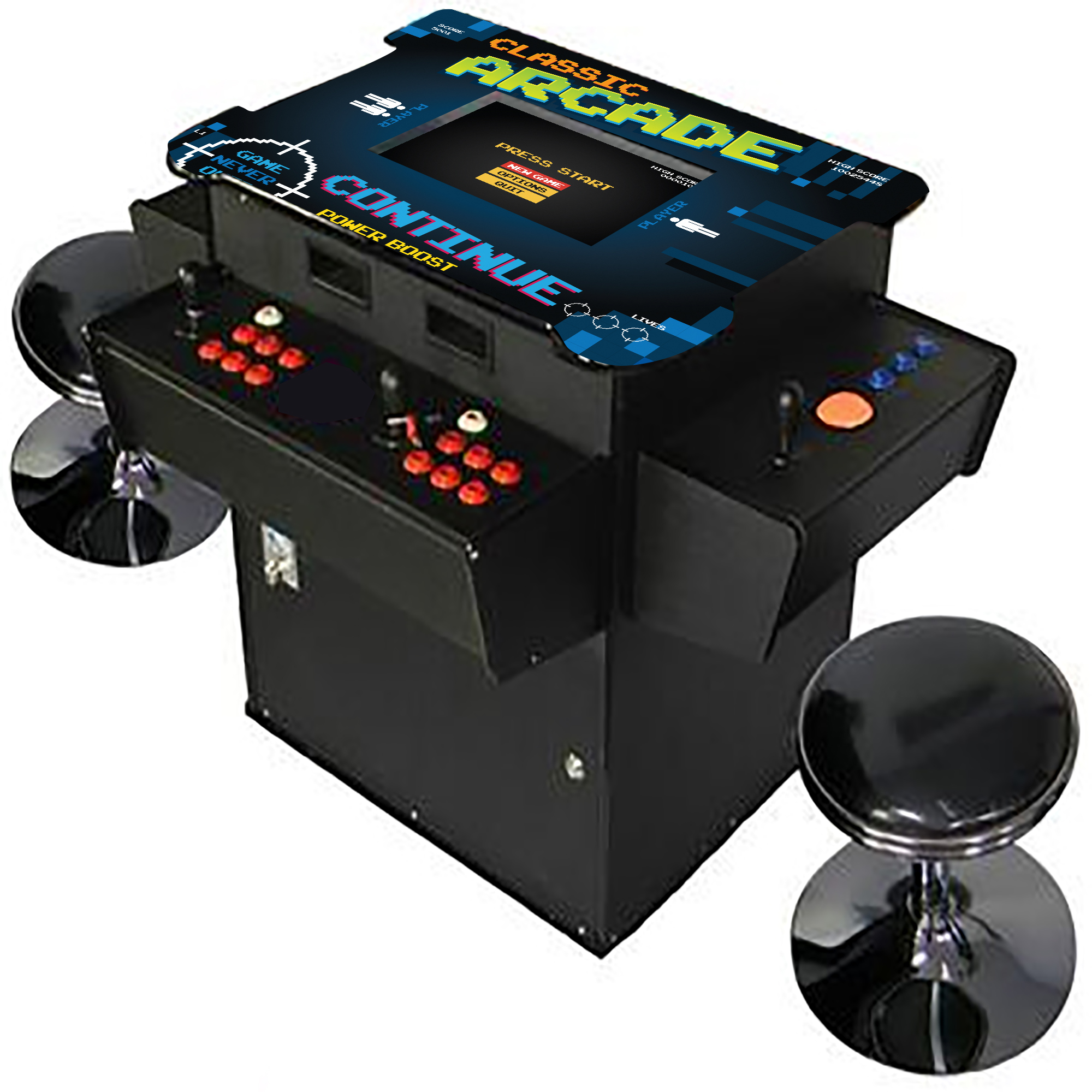 Creative Arcades Full-Size Commercial Grade Cocktail Arcade Machine | Trackball | Three-Sided | 1162 Classic Games | 4 Sanwa Joysticks | 2 Stools | 3-Year Warranty | Square Glass Top
