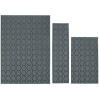 """Garland Rug Sparta Solid Sea Foam Geometric 3 Piece Area Rug Set(24""""x60"""", 3'x4', 5'x7')"""