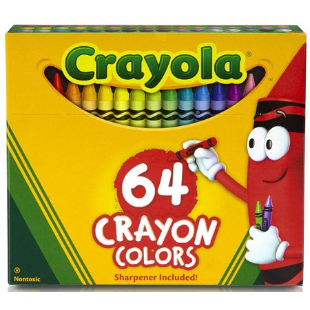 - Crayola 64 Count Crayons With Built-In Sharpener