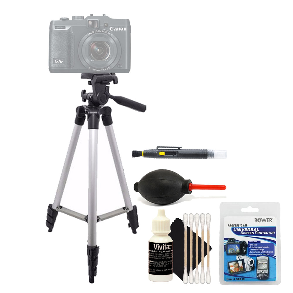 Tall Tripod with Top Cleaning Accessory Kit for Canon PowerShot SX710 G7X G16 and All Digital Cameras
