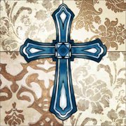 Four Panel Abstract Pattern Damask Floral Cross Illustration Religious Painting Blue & Tan Canvas Art by Pied Piper Creative