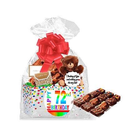 - 72nd Birthday / Anniversary Gourmet Food Gift Basket Chocolate Brownie Variety Gift Pack Box (Individually Wrapped) 12pack