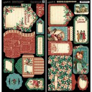 Graphic 45 A Christmas Carol Cardstock Die Cuts 6inX12in Sheets 2/Pkg Tags & Pockets