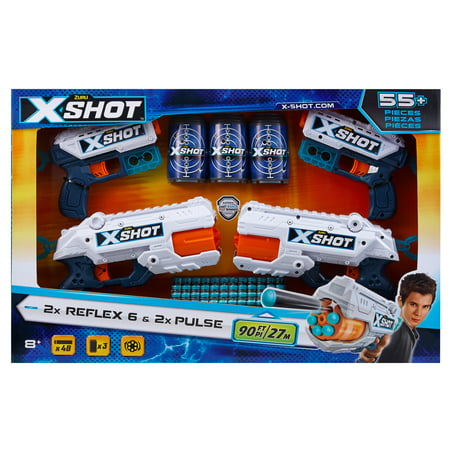 X-Shot Excel Double Kickback Double Reflex 6 Foam Dart Blaster Combo Value Pack (48 Darts 3 Cans) by ZURU