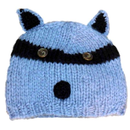 So Womens Gray Knit Raccoon Beanie Stocking Cap - Raccoon Skin Hat