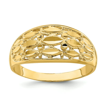 14k Yellow Gold Diamond-cut Marquise Design Band Ring