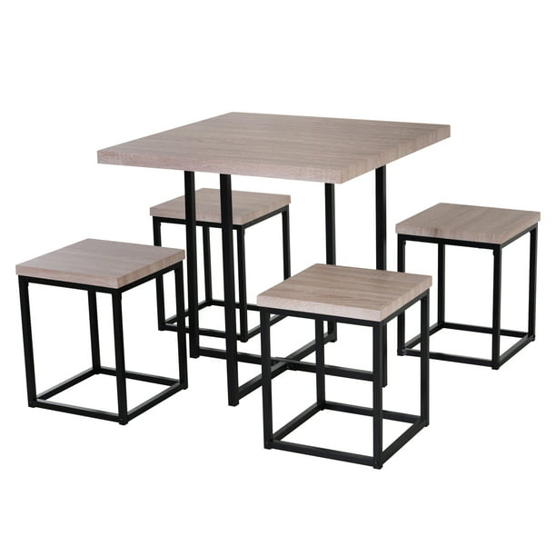 Homcom 5 Piece Dining Room Table Chair Set Square Board Steel Space Saving With Stools Walmart Com Walmart Com
