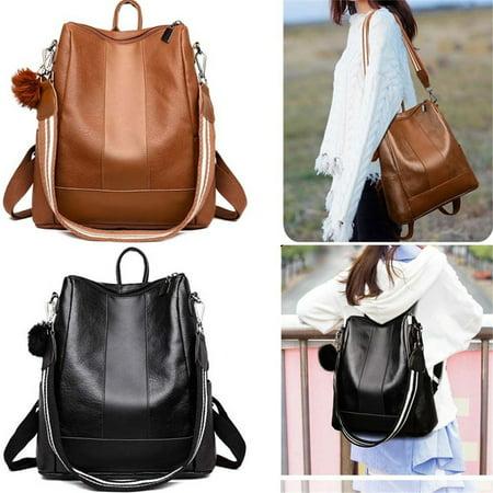 612bd3e523c Women Girls Backpack Waterproof PU Leather Anti-theft Rucksack Fashion  Shoulder School Bag