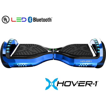 - Hover-1 Chrome UL Certified Electric Hoverboard w/ 6.5 Wheels, LED Lights, and Bluetooth Speaker - Blue