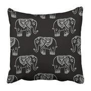 BSDHOME Boho Pattern with Elephant and Mandala of Animal Pajamas Ethnic Safari Abstract Book Pillowcase 20x20 inch