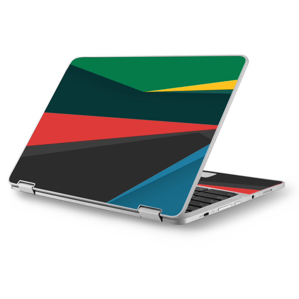 "Skins Decals for Asus Chromebook 12.5"" Flip C302CA Laptop Vinyl Wrap / Abstract Patterns Green"