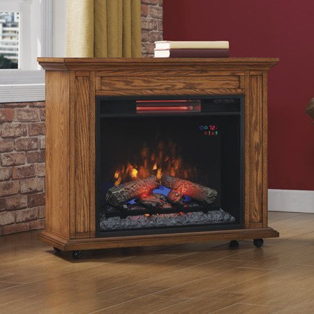 Duraflame Rolling Mantel With Electric Infrared Quartz Fireplace