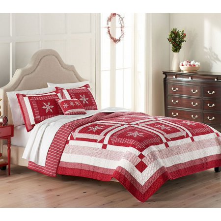 St Nicholas Square Holiday Collection Snowflake Quilt Full/Queen ... : red snowflake quilt - Adamdwight.com