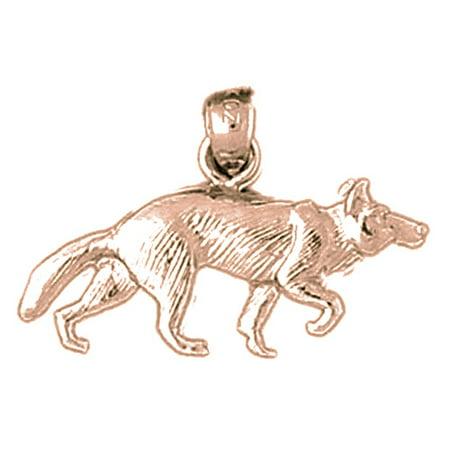 14K Rose Gold Wolf Pendant - 17 mm - Wolf Pendant