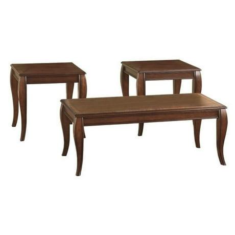 Ashley Mattie 3 Piece Coffee Table Set In Reddish Brown