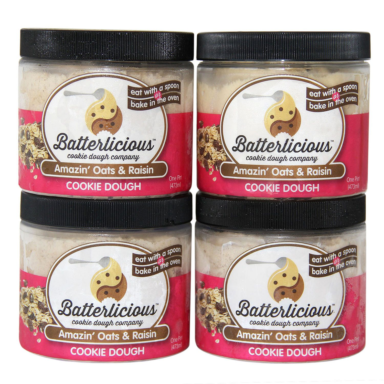 Batterlicious Edible Cookie Dough, Amazin' Oats & Raisin (1 pint jar, 4 ct.) by