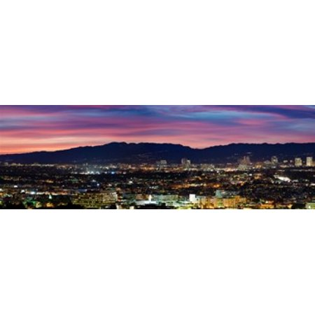 High angle view of a city at dusk Culver City Santa Monica Mountains West Los Angeles Westwood California USA Canvas Art - Panoramic Images (18 x 6)](Party City Westwood)