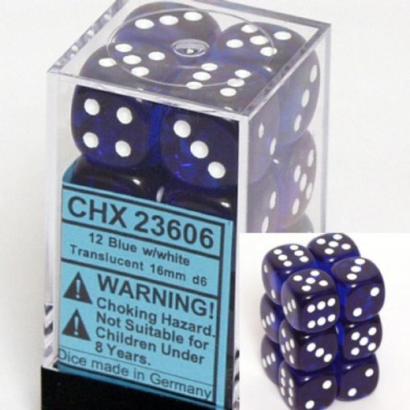 Chessex Dice d6 Sets: Blue with White Translucent - 16mm Six Sided Die (12) Block of Dice