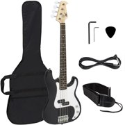 Best Choice Products Black Electric Bass Guitar Including Strap, Guitar Case, Amp Cord and More