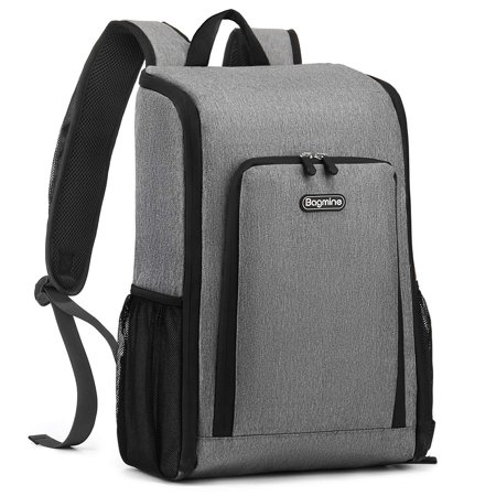 Bagmine Insulated Cooler Backpack, 17 Liter Foldable Lunch Backpack with Cooler, Lightweight, Waterproof Thermal Cooler Bag for Picnic, Hiking, Beach, Park, Gray