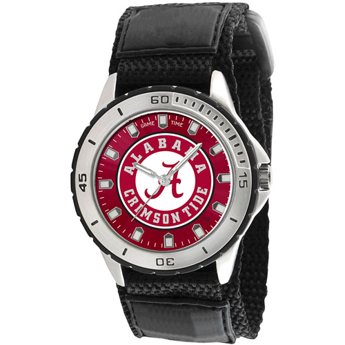 Game Time NCAA Men's University of Alabama Crimson Tide Veteran Series Watch, Black Velcro Strap