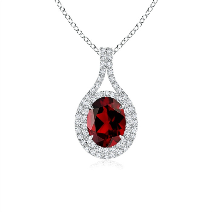 Mother's Day Jewelry Necklace Oval Garnet Double Halo Pendant Necklace in 950 Platinum (8x6mm Garnet)... by Angara.com