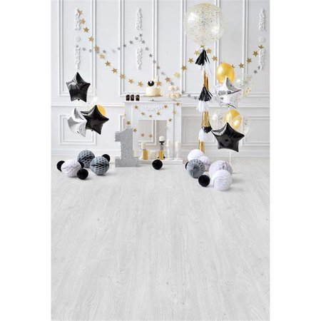 ABPHOTO Polyester Baby's 1st Birthday Photography Backdrops Wood Floor Black White Grey Balloons Stars One Year Old Party Boy Photo Shoot Background 5x7ft](Ideas For 1 Year Old Birthday Party)